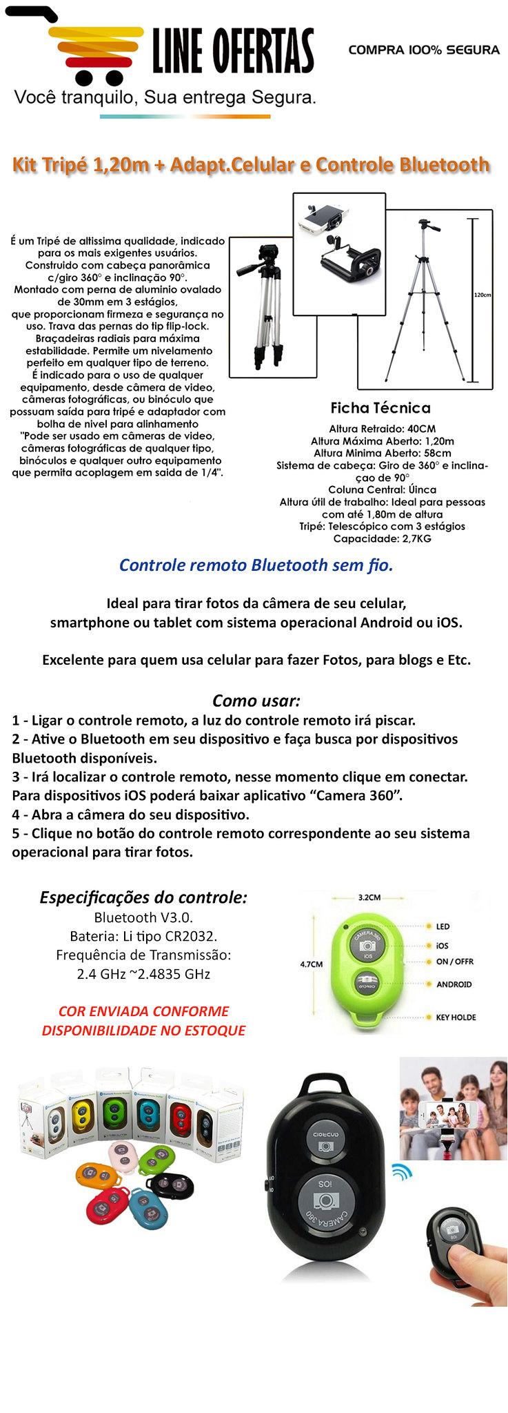 Tripe 1,20 controle bluetooth adaptador de celular