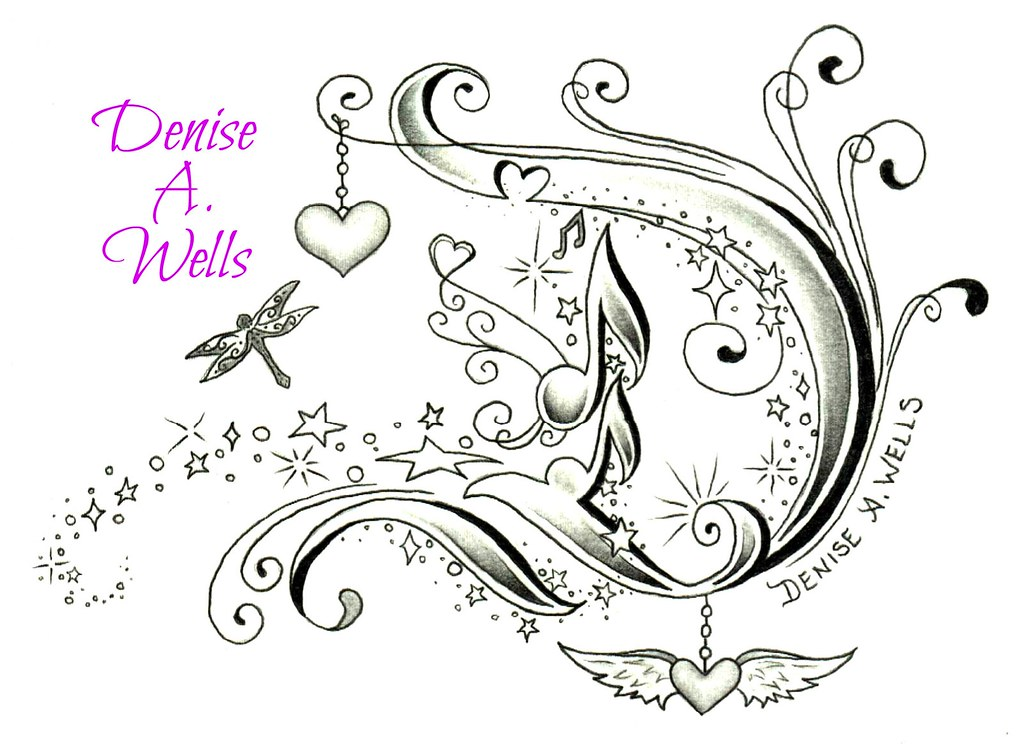 fancy letter d tattoo design by denise a wells by denise a