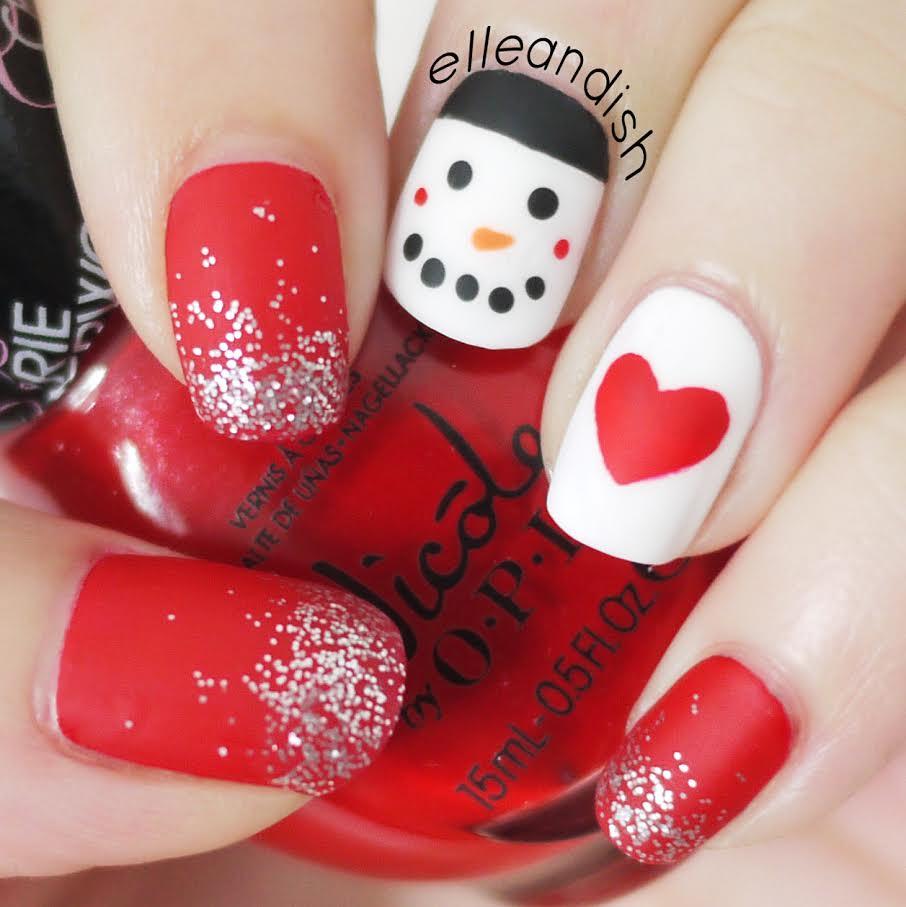 Christmas Nails: Matte Snowman Nails | elleandish | Flickr