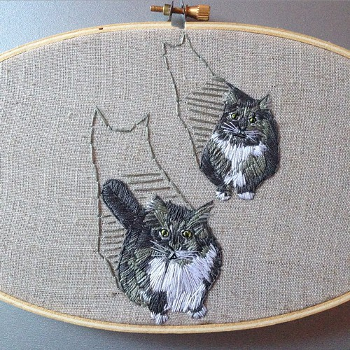 "So, when I decided to do custom portraits I told myself ""no pets"" for a variety of reasons. Then a friend asks me to stitch a portrait of her boyfriend's cats. ""Sure!"" I say. Then, while I'm working on said cats I told another friend, ""No more pets... Unt 