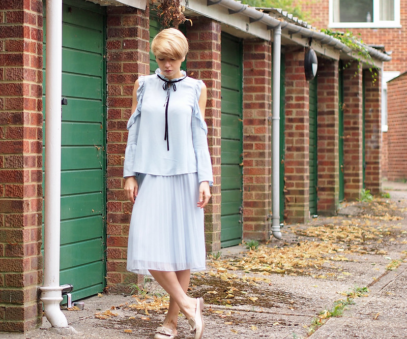 Limited Edition, M&S, Marks & Spencer, Cold Shoulder, Ruffle, Bell Sleeve, Ribbon Tie, Blue, Pastel, Midi Skirt, Pleats, Dorothy Perkins, Co-ords, Backless Loafers, Gucci Dupe, New Look, Nude Shoes, How to Wear, SS16, Outfit Ideas, Style Inspiration, London Style Blogger, UK Fashion Blog, Sam Muses