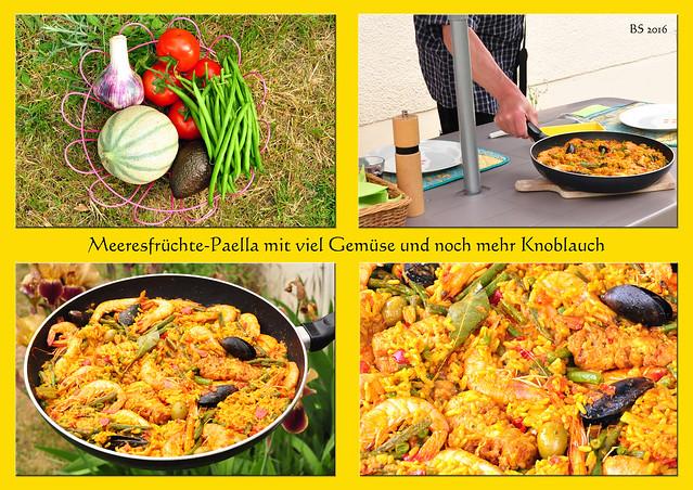 Meeresfrüchte-Paella mit Gemüse vom Markt und viel Knoblauch - Fotos und Collage: Brigitte Stolle, Bretagne-Urlaub 2016