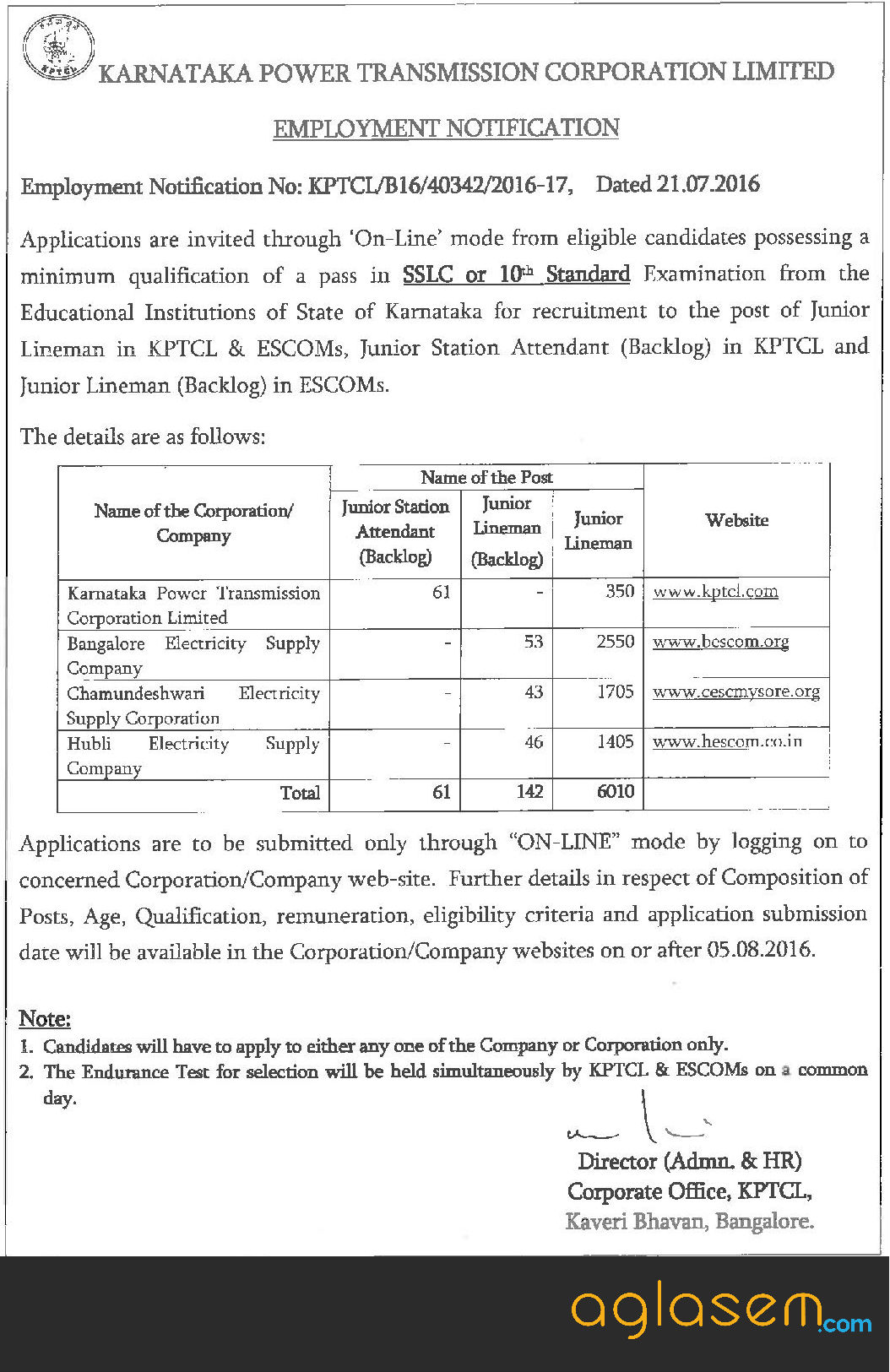 KPTCL JLM JSA Recruitment 2016