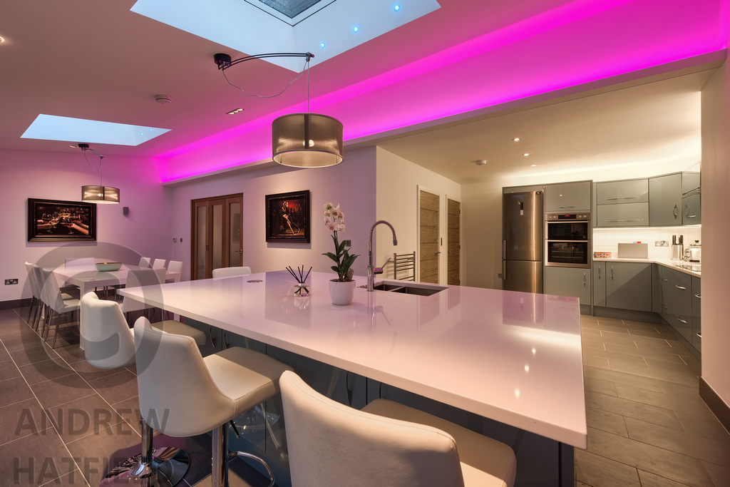 kitchen mood lighting. Mood Lighting, Kitchen Space, Cambridgesire | By Andrew Hatfield Architectural Photographer Lighting
