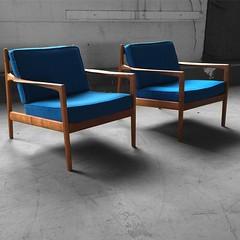 Capable Swedish Midcentury Modern Folke Ohlsson Teak Lounge Chairs For Dux ( Sweden, ...