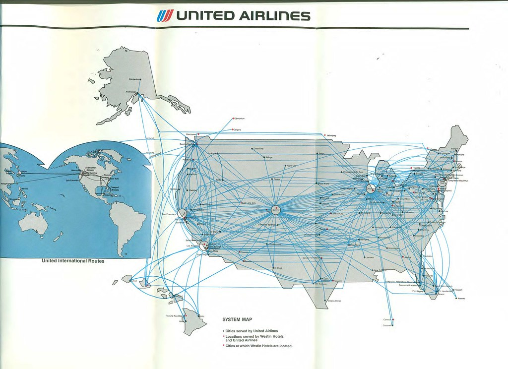 United Route Map United route map, August 1985   United Airlines system route…   Flickr United Route Map