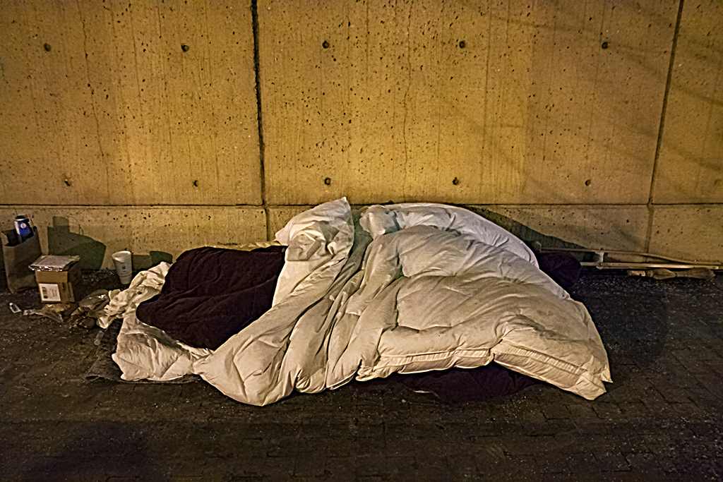 Sleeping person on L Street on 3-3-15--Washington