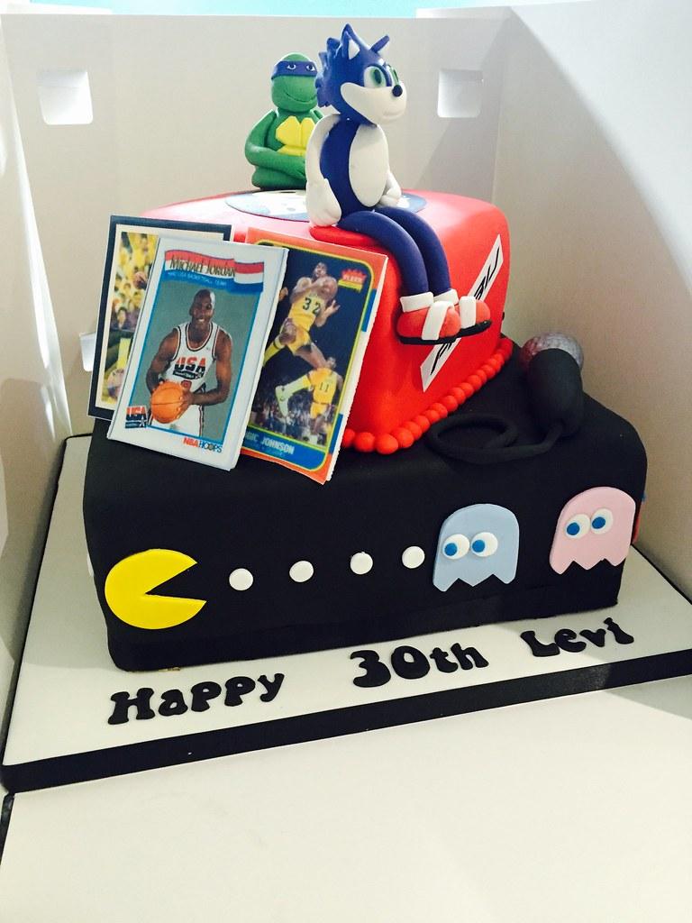 80s Themed Cake Tmnt Pacman Sonic Birthdaycake Cakedecorating