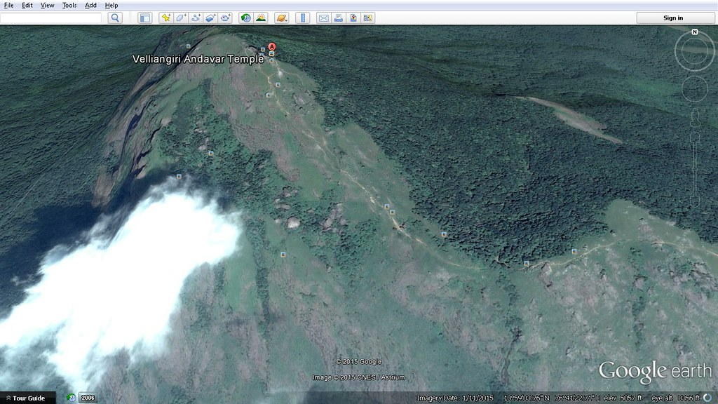 velliangiri andavar temple 7th hill google earth map by devmunuswamy