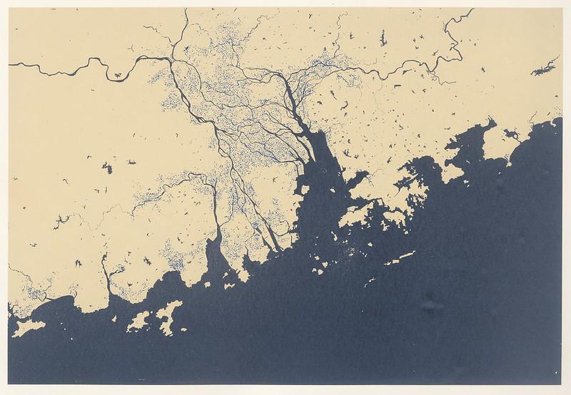pearl river delta region - showing current sea level