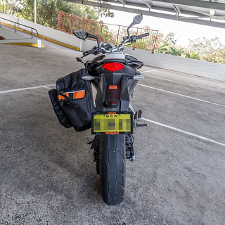 KTM Duke 390 2014, with ViaTerra Velox Saddlebags (rear view, 1 bag mounted) | by demawo