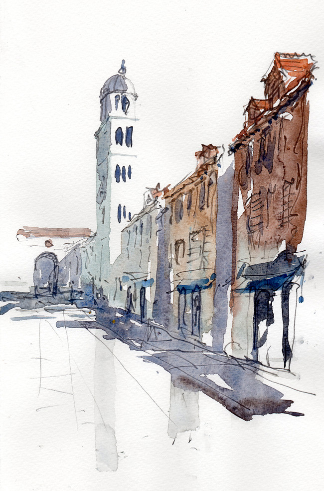 Dubrovnik stradun by tony belobrajdic a5 20 min sketch for Online architecture drawing