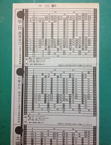 Timetable of Hankyu-Rwy Kobe line Juso Sta., 1995. Damaged by earthquake.