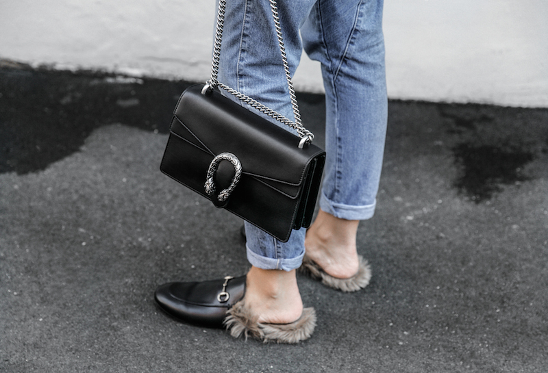 bassike lo slung jeans Gucci dionysus bag black fur horsebit loafers Tibi pinstripe shirt cold shoulder street style fashion blogger minimal modern legacy (1 of 8)