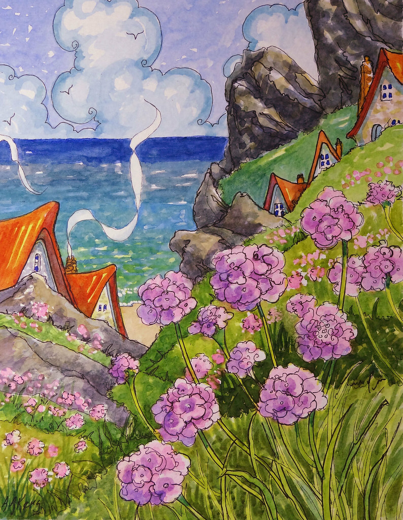 Sea Pinks Sbc New Painting From My Storybook Cottage Serie