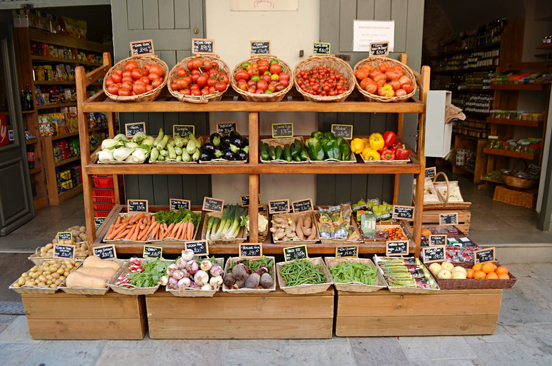 Vegetables on display