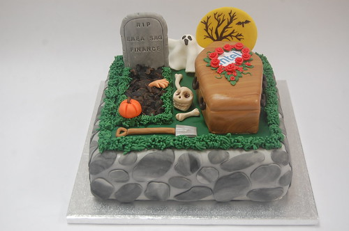 Special commission for the closure of a business department, but would make a fabulous centrepiece for your Halloween celebration! The Graveyard cake (with edible coffin!) - from £80.