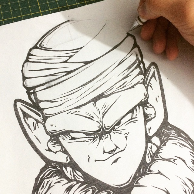 Piccolo 2nd sketch for my dbz posters piccolo dbz dragon