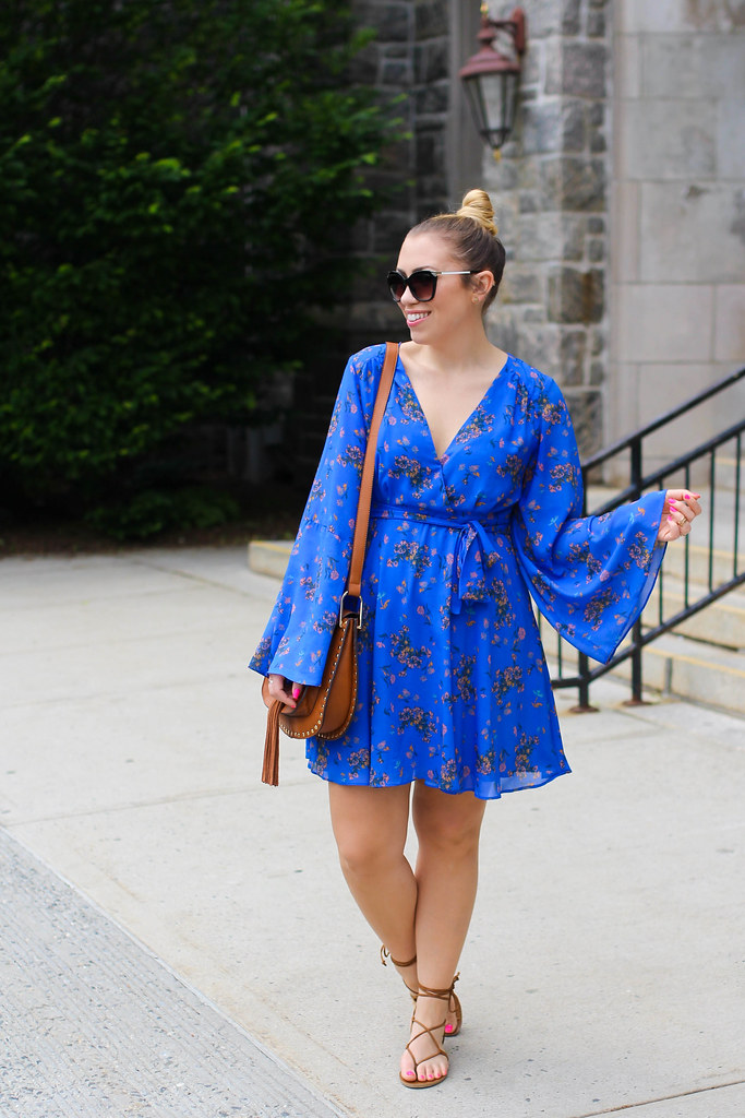 Free People Lilou Chiffon Dress | Top Knot | 70s Boho Summer Style | Brown Lace Up Sandals | Outfit Inspiration on Living After Midnite by Jackie Giardina