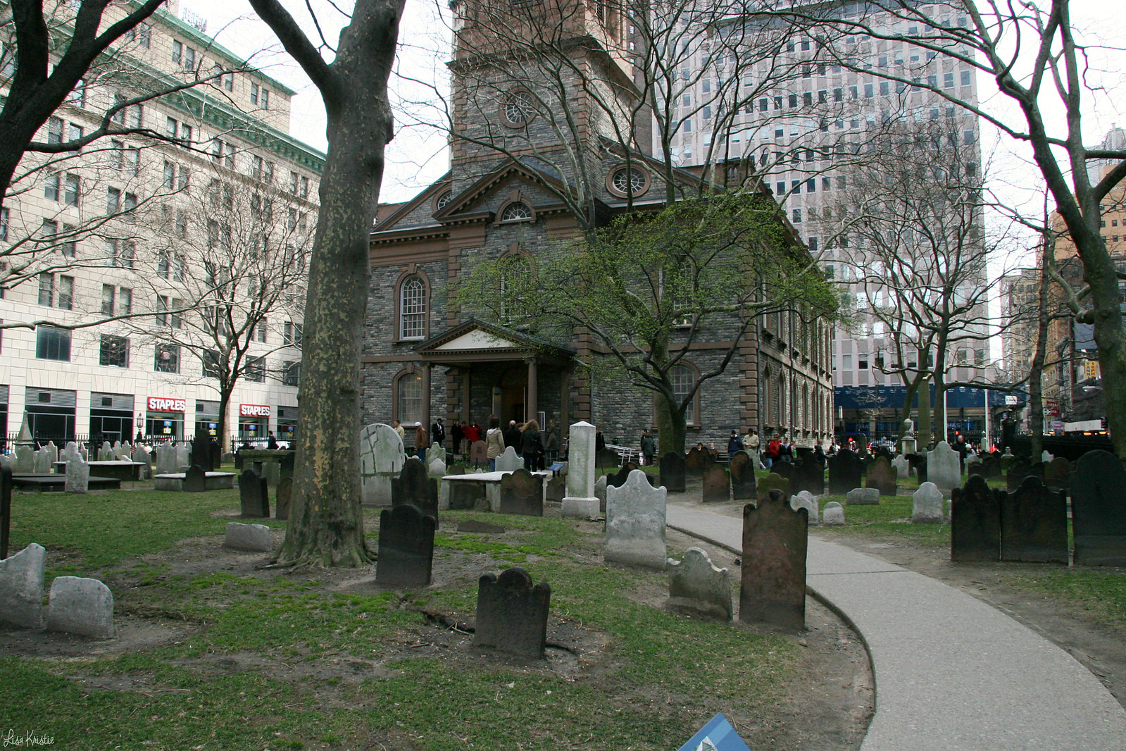 Saint Paul's Chapel church lower manhattan new york city back entry facade graveyard cemetery churchyard graves headstones old spring april 2007