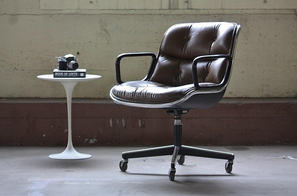 ... Classic Vintage Leather Charles Pollock Executive Arm Chair For Knoll  International (U.S.A., 1970s)