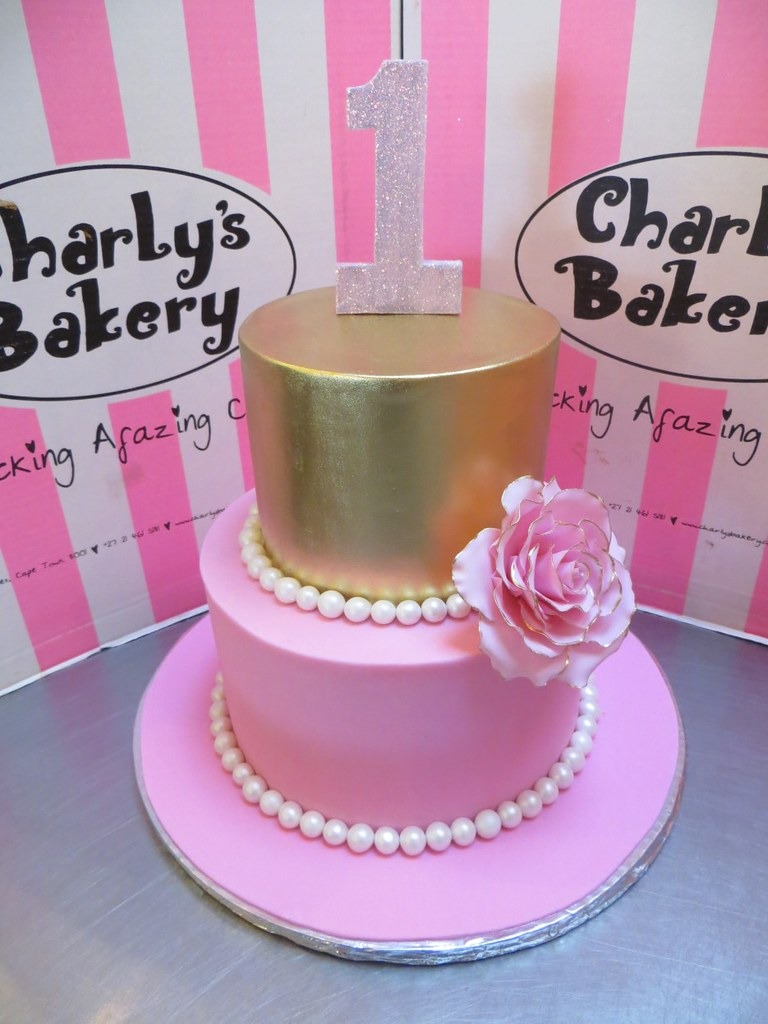 2 Tier 1st Birthday Cake Covered In Gold Pink Fondant Ic Flickr