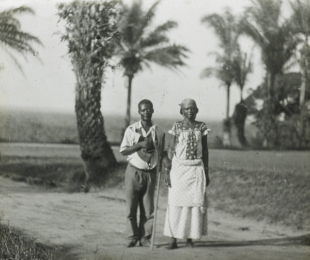 Photo of a blind man and his sister 1944 in Africa