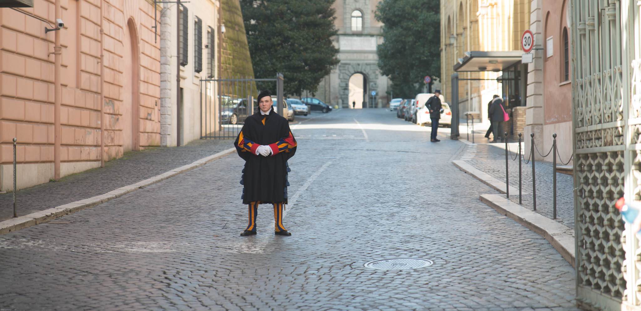solitary swiss guard vatican city rome italy