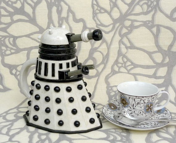 Doctor Who Dalek Teapot by Jadeflower Ceramics on Etsy.