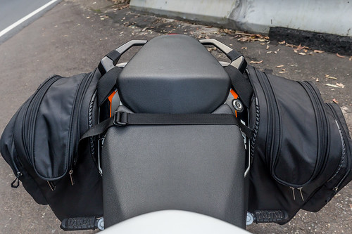 KTM Duke 390 2014, with ViaTerra Velox Saddlebags (top view, 2 bags mounted) | by demawo