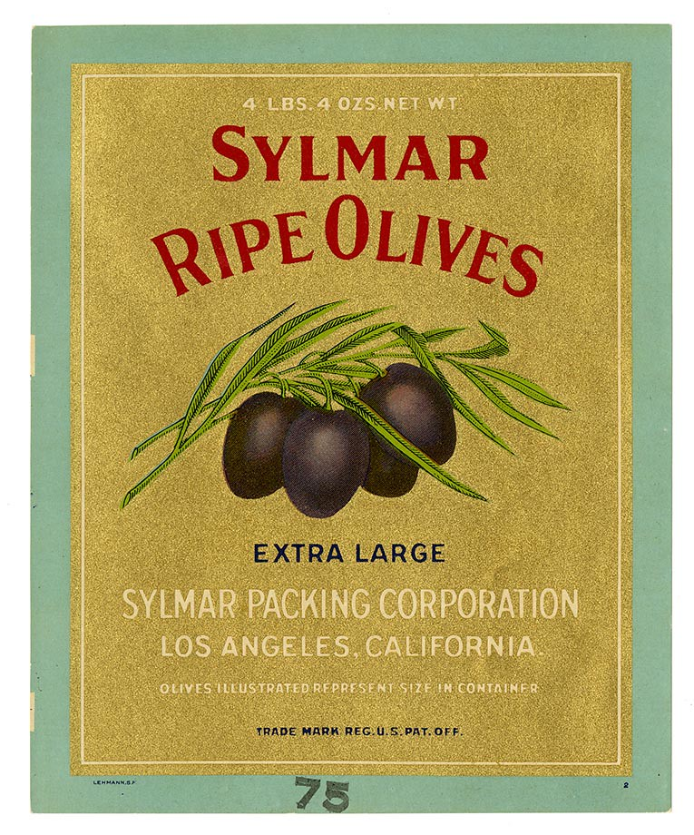 Olives label, Sylmar brand, Lehmann Printing and Lithographing Co. | by California Historical Society Digital Collection
