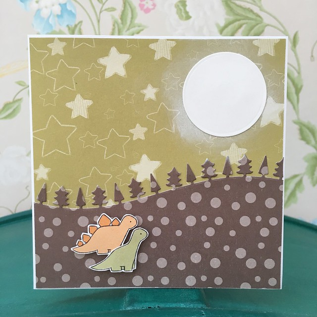 Dino Birthday - StickerKitten Birthday Dinos moonlight card