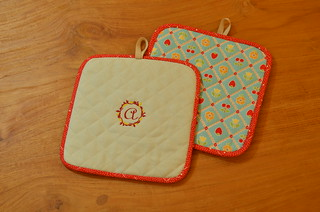 Quilted Pot Holders with Embroidery | by midnightcrafts