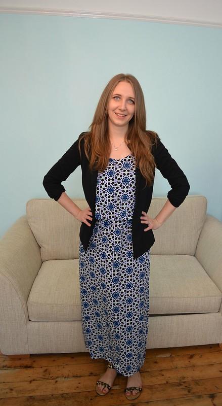 JD Williams Blue Tile Print Maxi Dress 7