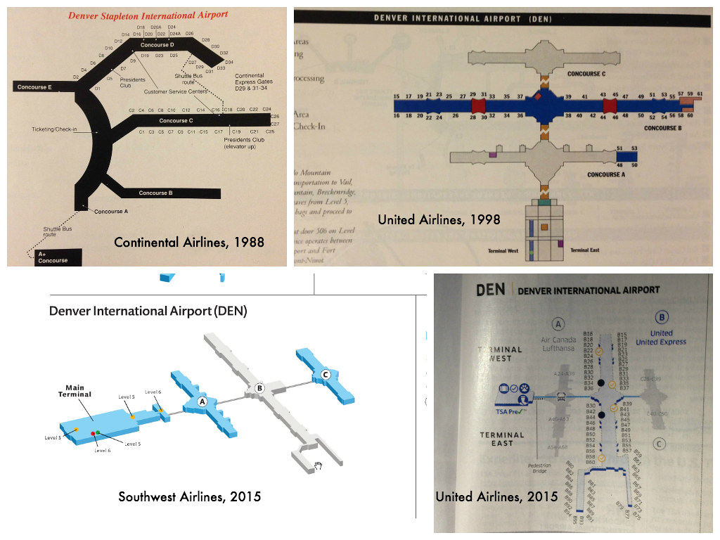Denver Airport terminal maps, 1988-2015 | Four airline termi… | Flickr