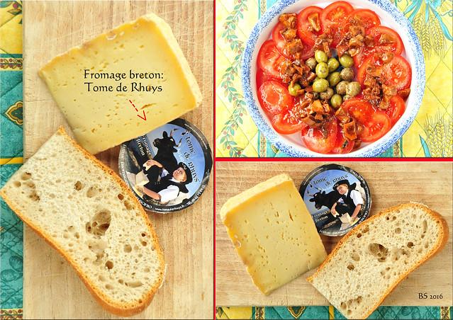 Tome de Rhuys - ein bretonischer Käse (fromage breton) von der Rhuys-Halbsinsel. Mit Baguette und Tomatensalat (und einem pikanten Bergkäse) ein köstlicher Imbiss. - Foto und Collage: Brigitte Stolle 2016