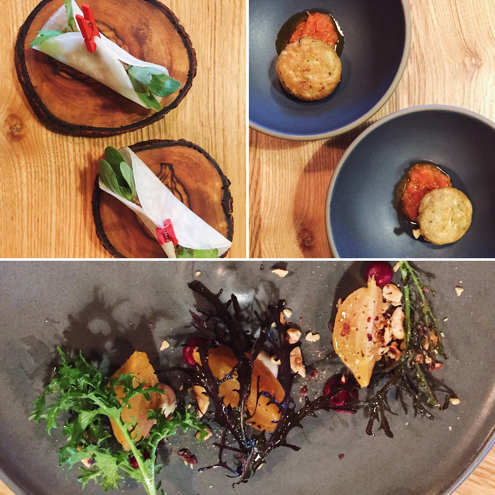 Kohlrabi Taco, Herb Fritter, Beetroot fermented mushroom and filbert at Farm Spirit