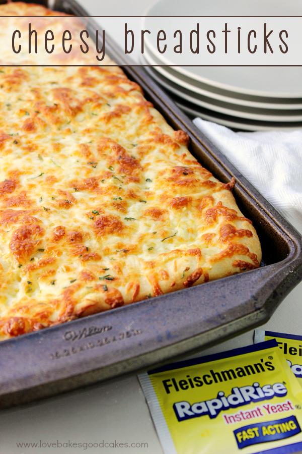 Cheesy Breadsticks in a baking pan.