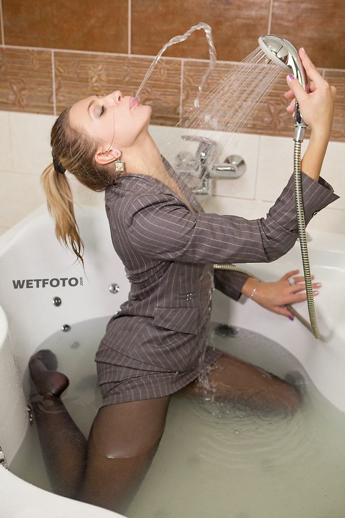 Girl Takes A Bath In Business Suit  Wetlook With Wetfoto -6715