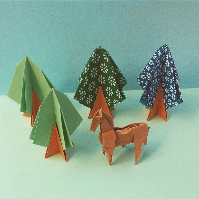 Origami Trees Designed By Toshikazu Kawasaki And Montrolls Horse Folded With 15cm Tant