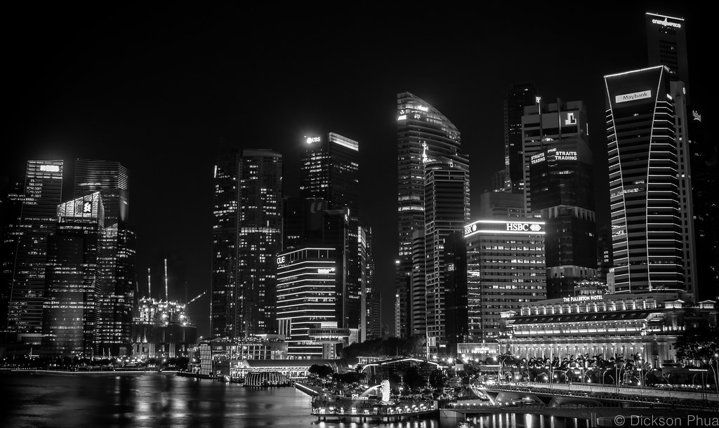 Singapore skyline in black and white by gunman47