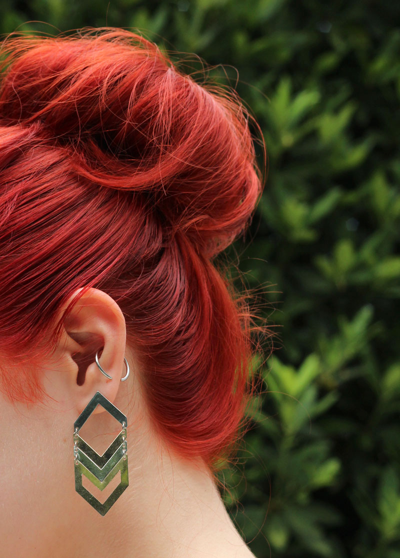 Bright Red Hair Bun Mixed Metal Chevron Earrings Conch Piercing