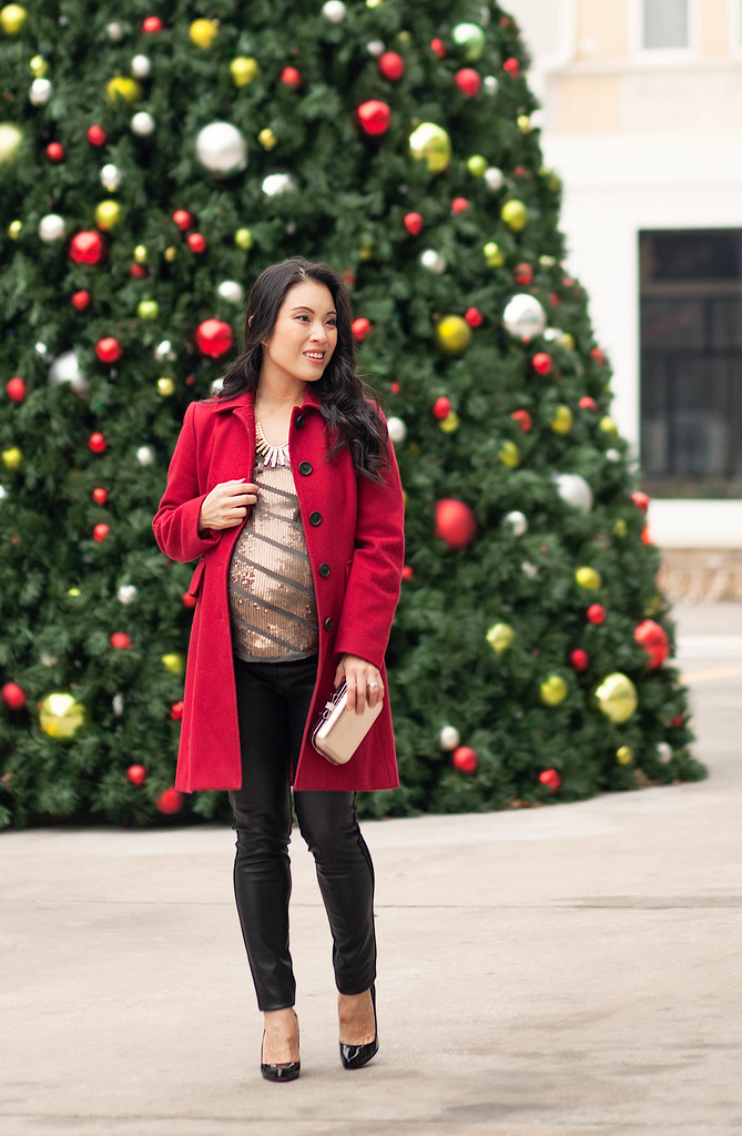 ... cute & little blog | petite fashion maternity | red wool coat, leather  ponte pants - Cute & Little Blog Petite Fashion Maternity Red Wool C… Flickr