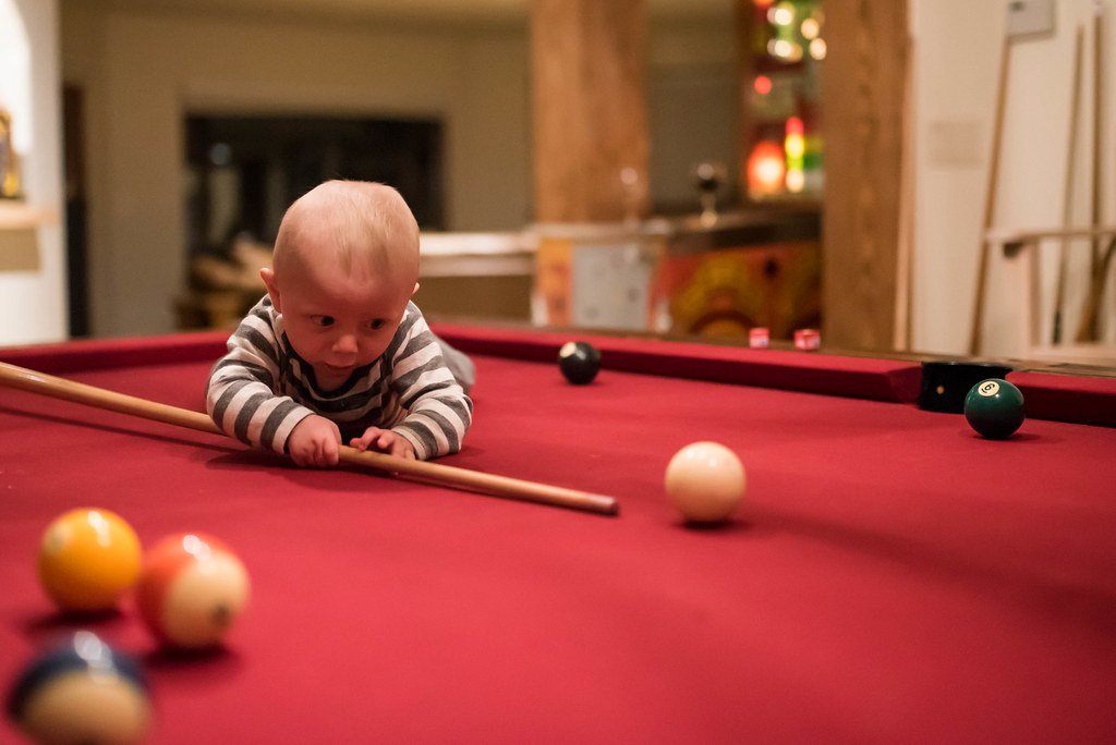 Quick Learner Baby Miles Is A Natural At Pool For A 6