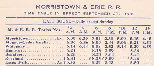 Morristown and Erie 1925 Schedule 2