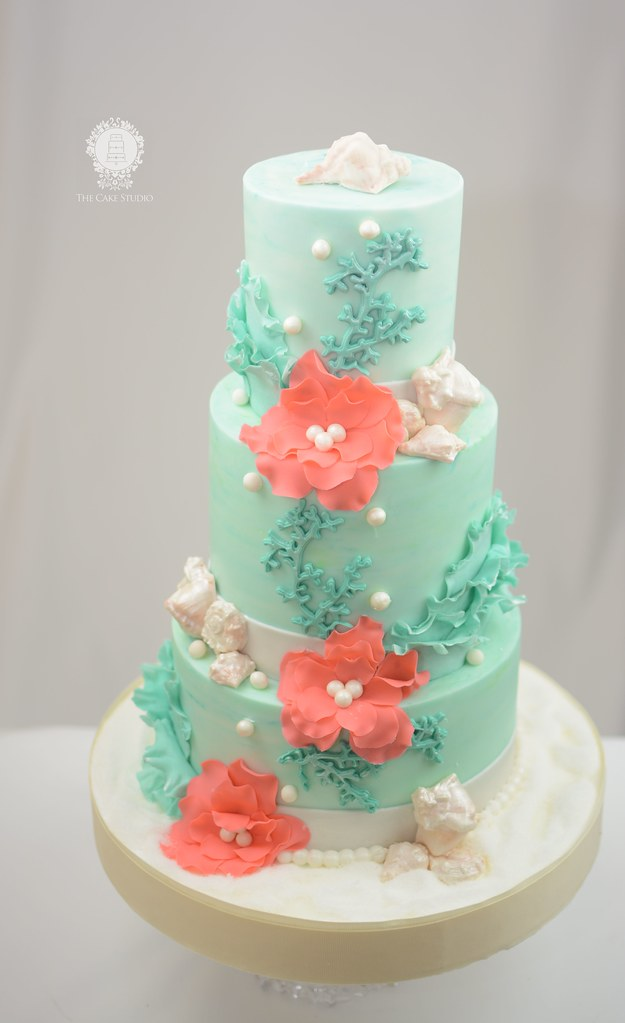 Beach Wedding Cakes Teal And Coral