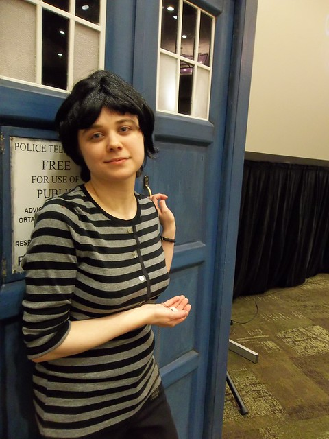 Susan Foreman outside TARDIS