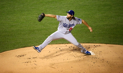 Dodgers starter Clayton Kershaw delivers a pitch during NLCS Game 6. | by apardavila