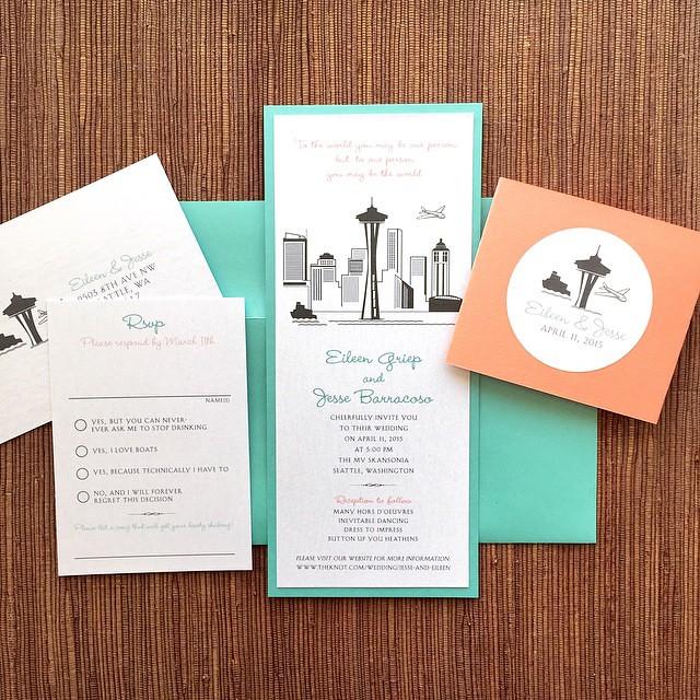 Seattle Skyline Custom Wedding Invitation Design Se Flickr