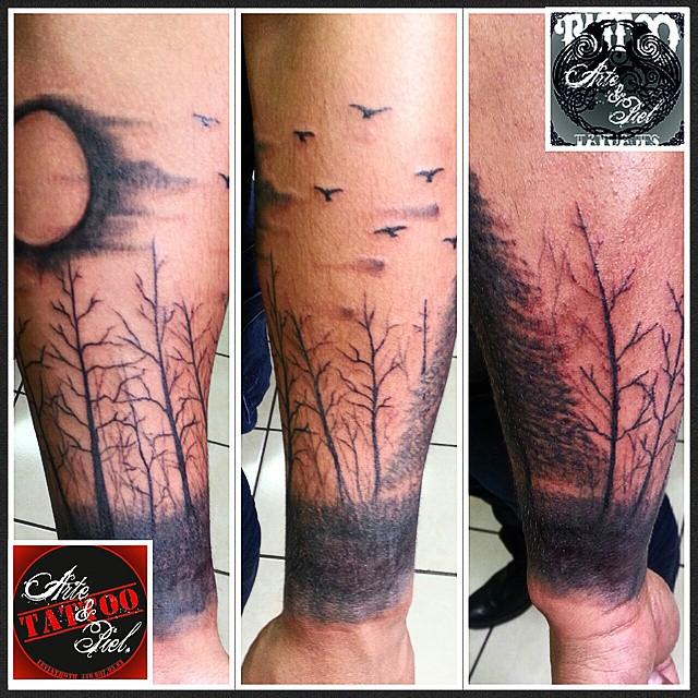 Brazo Arboles Negro Tattooarteypiel Tatuajes Artisti Flickr